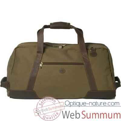 Video Baron-4008-02-Sac de transport en toile/cuir vert.